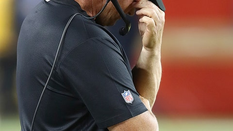 <p>               Oakland Raiders coach Jon Gruden covers his face on the sideline during the second half of the team's NFL football game against the San Francisco 49ers in Santa Clara, Calif., Thursday, Nov. 1, 2018. (AP Photo/Ben Margot)             </p>