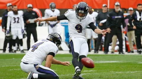 <p>               FILE - In this Oct. 7, 2018, file photo, Baltimore Ravens' Justin Tucker kicks a 44-yard field goal during the first half of the team's NFL football game against the Cleveland Browns in Cleveland. Tucker, the most accurate kicker in league history at 90.1 percent, received 92 points in a 10-points-to-one-point system with six of 10 first-place votes from a panel of Associated Press football writers. (AP Photo/Ron Schwane, File)             </p>