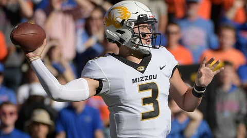 <p>               Missouri quarterback Drew Lock (3) throws a pass during the first half of an NCAA college football game against Florida Saturday, Nov. 3, 2018, in Gainesville, Fla. (AP Photo/Phelan M. Ebenhack)             </p>