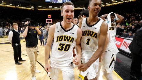 <p>               Iowa guard Connor McCaffery (30) and guard Maishe Dailey walk off the court after an NCAA college basketball game against Pittsburgh, Tuesday, Nov. 27, 2018, in Iowa City, Iowa. Iowa won 69-68. (AP Photo/Charlie Neibergall)             </p>