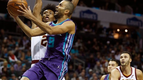 <p>               Charlotte Hornets' Tony Parker (9) shoots as he is fouled by Cleveland Cavaliers' Collin Sexton (2) during the first half of an NBA basketball game in Charlotte, N.C., Saturday, Nov. 3, 2018. (AP Photo/Bob Leverone)             </p>