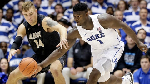 <p>               Duke's Zion Williamson (1) and Army's Matt Wilson (14) reach for the ball during the second half of an NCAA college basketball game in Durham, N.C., Sunday, Nov. 11, 2018. (AP Photo/Gerry Broome)             </p>