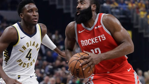 <p>               Houston Rockets' James Harden goes to the basket against Indiana Pacers' Victor Oladipo during the first half of an NBA basketball game, Monday, Nov. 5, 2018, in Indianapolis. (AP Photo/Darron Cummings)             </p>