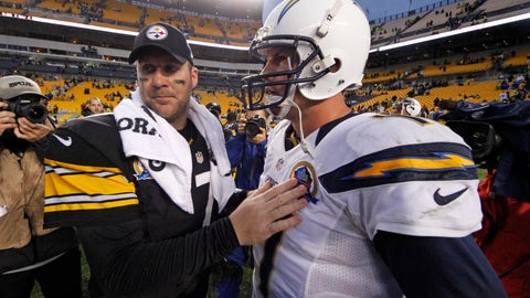 <p>               FILE - In this Dec. 9, 2012, file photo, Pittsburgh Steelers quarterback Ben Roethlisberger (7) talks with San Diego Chargers quarterback Philip Rivers (17) after the Chargers won 34-24  in an NFL football game in Pittsburgh. The scoreboard might explode at Heinz Field as Class of 2004 QBs Philip Rivers and Ben Roethlisberger light it up on Sunday. (AP Photo/Gene J. Puskar, File)             </p>