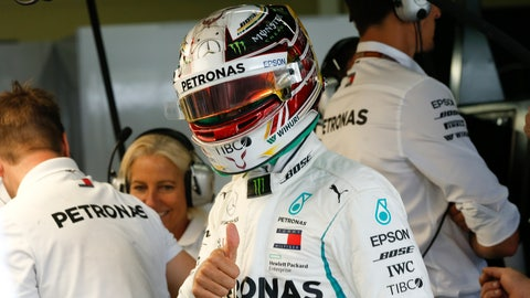 <p>               Mercedes driver Lewis Hamilton, of Britain, flashes a thumbs up during the first free practice at the Interlagos race track in Sao Paulo, Brazil, Friday, Nov. 9, 2018. Brazil will stage the Formula One Grand Prix's penultimate race of the season on Sunday. (AP Photo/Andre Penner)             </p>