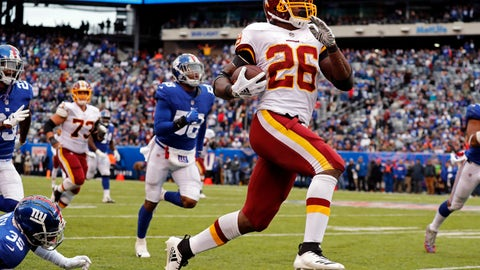<p>               FILE -  In this Oct. 28, 2018, file photo, Washington Redskins running back Adrian Peterson (26) rushes for a touchdown against the New York Giants during an NFL football game in East Rutherford, N.J. Peterson ranks fifth in rushing with 587 yards, has four touchdowns, and is surrounded on the stats sheet by guys who weren't even in high school when Peterson broke in for Minnesota in 2007. (AP Photo/Adam Hunger, File)             </p>