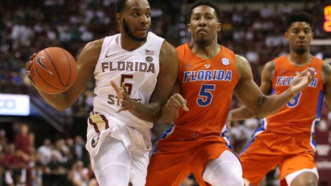 <p>               Florida State's PJ Savoy works against the defense of Florida's Kevaughn Allen during the first half of an NCAA college basketball game Tuesday, Nov. 6, 2018, in Tallahassee, Fla. (AP Photo/Steve Cannon)             </p>