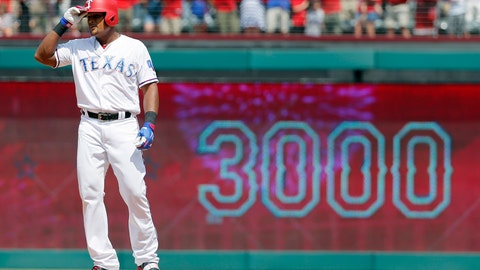 <p>               FILE- In this July 30, 2017, file photo, Texas Rangers' Adrian Beltre tips his helmet as he acknowledges cheers after hitting a double for his 3,000th career hit, that came off a pitch from Baltimore Orioles' Wade Miley in the fourth inning of a baseball game, in Arlington, Texas. Beltre has decided to retire after 21 seasons and 3,166 hits in the majors leagues. Beltre announced his decision in a statement released by the Rangers on Tuesday morning, Nov. 20, 2018.  (AP Photo/Tony Gutierrez, File)             </p>