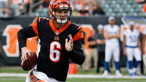 <p>               FILE - In this Aug. 30, 2018 file photo Cincinnati Bengals quarterback Jeff Driskel runs the ball during the first half of the team's NFL preseason football game against the Indianapolis Colts in Cincinnati. With quarterback Andy Dalton sidelined for the rest of the season with an injured thumb, Driskel gets the chance to try to pull the Bengals out of their meltdown starting with a home game against the Broncos on Sunday, Dec. 2, 2018. (AP Photo/Frank Victores, file)             </p>