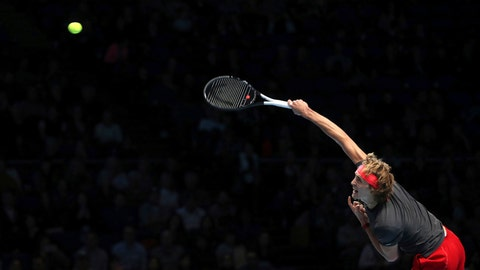 <p>               Alexander Zverev serves against Croatia's Marin Cilic during the ATP Men's Singles Final, at The O2 Arena in London, Monday Nov. 12, 2018. Cilic made 46 unforced errors as he gave up a break advantage in both sets in losing to Alexander Zverev on Monday. (Adam Davy/PA via AP)             </p>