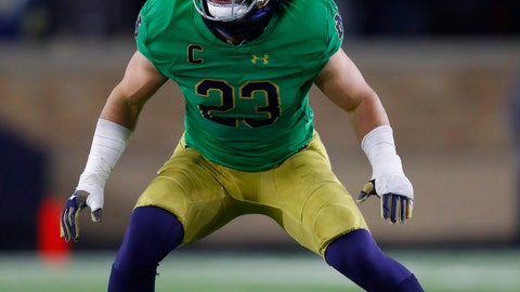 <p>               FILE - In this Nov. 10, 2018, file photo, Notre Dame linebacker Drue Tranquill plays against Florida State in the second half of an NCAA college football game in South Bend, Ind. Tranquill, who has suffered a broken left hand and high right ankle sprain during Notre Dame's magical mystery 2018 tour, has remarkably missed just a few plays this season. (AP Photo/Paul Sancya, File)             </p>