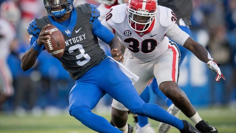 <p>               FILE - In this Saturday, Nov. 3, 2018, file photo, Georgia linebacker Tae Crowder (30) pressures Kentucky quarterback Terry Wilson (3) during the second half an NCAA college football game against in Lexington, Ky. Kentucky's biggest challenge may come Saturday when the Wildcats close their SEC schedule at Tennessee, where they have lost 16 straight and haven't won since 1984. (AP Photo/Bryan Woolston, File)             </p>