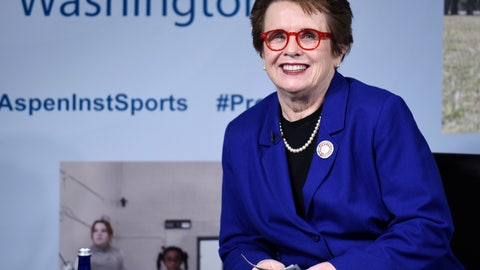 <p>               FILE - In this Tuesday, May 17, 2016 file photo, tennis legend Billie Jean King participates in a discussion at the Aspen Institute's 2016 Project Play Summit at the Newseum in Washington. Billie Jean King is celebrating her 75th birthday, which lands on Thanksgiving this year, Thursday, Nov. 22, 2018. (AP Photo/Susan Walsh, File)             </p>