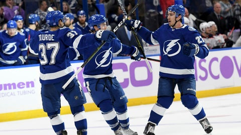 <p>               Tampa Bay Lightning center Yanni Gourde (37), center Brayden Point (21) and defenseman Ryan McDonagh (27) celebrate Gourde's second-period goal against the Edmonton Oilers during an NHL hockey game Tuesday, Nov. 6, 2018, in Tampa, Fla. (AP Photo/Jason Behnken)             </p>