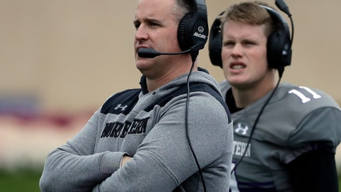 <p>               FILE - In this Oct. 27, 2018, file photo, Northwestern head coach Pat Fitzgerald, left, watches his team during the second half of an NCAA college football game against Wisconsin in Evanston, Ill. The program's winningest coach by a wide margin, Fitzgerald has No. 21 Northwestern playing in the Big Ten championship game for the first time. (AP Photo/Nam Y. Huh, File)             </p>