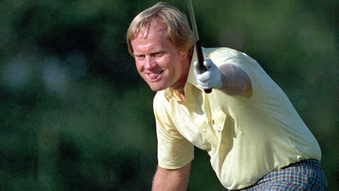 <p>               FILE - In this April 13, 1986 file photo, golfer Jack Nicklaus watches his shot go for a birdie on the 17th at the Masters Tournament in Augusta, Ga. He wore a yellow shirt that day to honor a young fan who died at a young age from cancer. (AP Photo/Joe Benton, File)             </p>