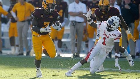 <p>               Arizona State running back Eno Benjamin (3) runs by Utah defensive back Jaylon Johnson (1) for a touchdown in the second half during an NCAA college football game, Saturday, Nov. 3, 2018, in Tempe, Ariz. (AP Photo/Rick Scuteri)             </p>