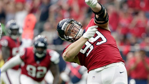 <p>               FILE - In this Oct. 14, 2018, file photo, Houston Texans defensive end J.J. Watt (99) celebrates after he sacked Buffalo Bills quarterback Josh Allen during the first half of an NFL football game in Houston. Halfway through the season, Watt is both a defensive player of the year and comeback player of the year candidate. (AP Photo/Michael Wyke, FIle)             </p>