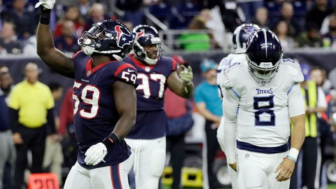 <p>               FILE - In this Monday, Nov. 26, 2018, file photo, Houston Texans outside linebacker Whitney Mercilus (59) celebrates after he sacked Tennessee Titans quarterback Marcus Mariota (8) during the second half of an NFL football game in Houston. The Titans have backed themselves into a corner with back-to-back losses, and now they need to fix issues on defense and the offensive line quickly to even have a chance to take advantage of playing four of their final five games at home starting Sunday hosting the Jets.  (AP Photo/David J. Phillip, File)             </p>