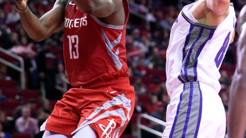 <p>               Houston Rockets guard James Harden, left, drives to the basket past Sacramento Kings guard Bogdan Bogdanovic during the second half of an NBA basketball game, Saturday, Nov. 17, 2018, in Houston. (AP Photo/Eric Christian Smith)             </p>