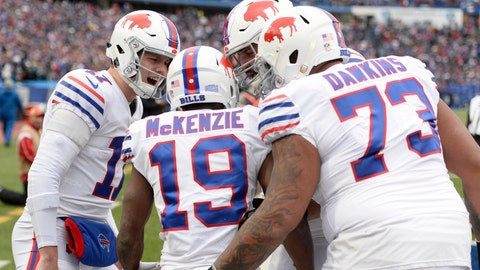 <p>               Buffalo Bills quarterback Josh Allen (17) congratulates wide receiver Isaiah McKenzie (19) after McKenzie scored on a touchdown run against the Jacksonville Jaguars during the first half of an NFL football game, Sunday, Nov. 25, 2018, in Orchard Park, N.Y. (AP Photo/Adrian Kraus)             </p>