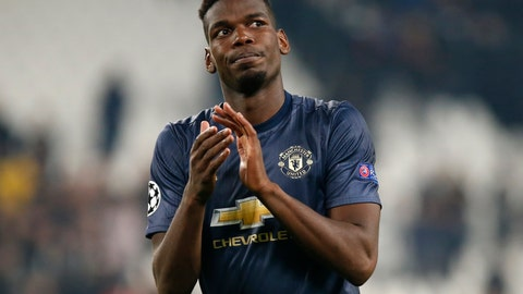 <p>               ManU midfielder Paul Pogba applauds fans at the end of the Champions League group H soccer match between Juventus and Manchester United at the Allianz stadium in Turin, Italy, Wednesday, Nov. 7, 2018. Manchester won 2-1. (AP Photo/Antonio Calanni)             </p>