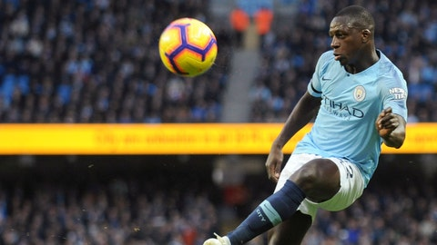 <p>               FILE - In this file photo dated Sunday, Nov. 4, 2018, Manchester City's Benjamin Mendy kicks the ball during the English Premier League soccer match against Southampton at Etihad stadium in Manchester, England. Manchester City manager Pep Guardiola said Friday Nov. 23, 2018, that left back Benjamin Mendy could miss up to three months with his latest knee injury. (AP Photo/Rui Vieira, FILE)             </p>