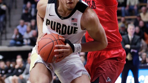 <p>               Purdue guard Carsen Edwards, left, moves toward the basket defended by Fairfield guard Neftali Alvarez during an NCAA college basketball game, Tuesday, Nov. 6, 2018, in West Lafayette, Ind. (AP Photo/R Brent Smith)             </p>