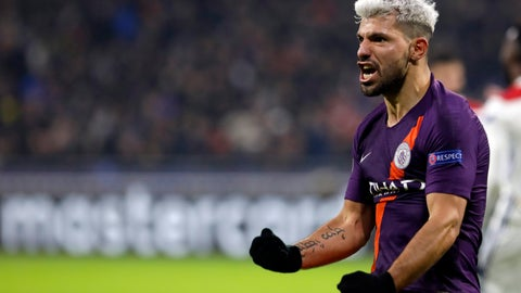 <p>               Manchester City forward Sergio Aguero celebrates after scoring his side's 2nd goal during the Champions League Group F second leg soccer match between Lyon and Manchester City in Decines, near Lyon, central France, Tuesday, Nov. 27, 2018. (AP Photo/Laurent Cipriani)             </p>
