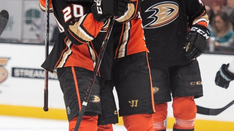 <p>               Anaheim Ducks center Ryan Getzlaf, center, celebrates left wing Pontus Aberg's goal in the second period of an NHL hockey game against the San Jose Sharks in Anaheim, Calif., Sunday, Oct. 28, 2018. (AP Photo/Kyusung Gong)             </p>