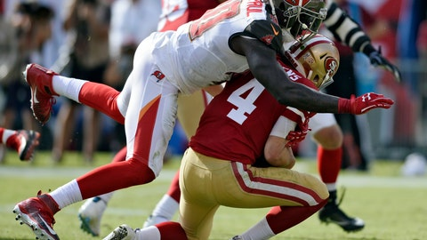<p>               FILE - In this Sunday, Nov. 25, 2018, file photo, Tampa Bay Buccaneers defensive end Jason Pierre-Paul (90) sacks San Francisco 49ers quarterback Nick Mullens (4) during the first half of an NFL football game in Tampa, Fla. Pierre-Paul insists he doesn't have anything to prove in his first season with the Buccaneers. He's been the best player on a largely disappointing defense, but says he's just doing his job. (AP Photo/Jason Behnken, File)             </p>