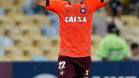 <p>               Marcinho of Brazil's Atletico Paranaense celebrates after beating Brazil's Fluminense during a Copa Sudamericana second leg semifinal match at Maracana stadium, in Rio de Janeiro, Brazil, Wednesday, Nov. 28, 2018. Atletico Paranaense won 4-0 and qualified for the final. (AP Photo/Silvia Izquierdo)             </p>