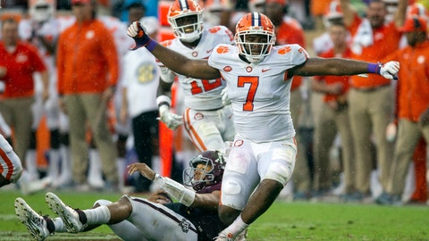 <p>               FILE - In this Sept. 8, 2018, file photo, Clemson defensive end Austin Bryant (7) reacts after sacking Texas A&M quarterback Kellen Mond, bottom, during the first half of an NCAA college football game in College Station, Texas. Bryant and the defensive line will lead No. 2 Clemson against Pittsburgh as the Tigers hope to capture a fourth straight Atlantic Coast Conference championship Saturday night.  (AP Photo/Sam Craft, File)             </p>