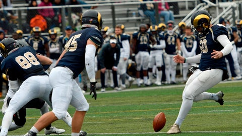 <p>               In this Oct. 27, 2018 photo provided by Shepherd University Athletics, Shepherd University kicker Ruan Venter drop kicks and extra point during a college football game against West Virginia Wesleyan in  Shepherdstown, W.Va. Venter dropkicked three extra points in the game. (David Pennock/Shepherd University Athletics via AP)             </p>