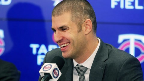 <p>               Minnesota Twins' Joe Mauer takes a question during his baseball retirement news conference Monday, Nov. 12, 2018, in Minneapolis, after playing 15 major league seasons, all with the Twins. (AP Photo/Jim Mone)             </p>