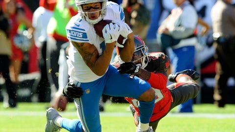 <p>               FILE - In this Dec. 10, 2017, file photo, Detroit Lions wide receiver Marvin Jones (11) makes a catch in front of Tampa Bay Buccaneers cornerback Ryan Smith (29) during the first half of an NFL football game in Tampa, Fla. The Lions have put Jones on injured reserve. The team announced the move Monday, Nov. 26, 2018. Jones has missed the past two games with a knee injury.. (AP Photo/Steve Nesius, File)             </p>