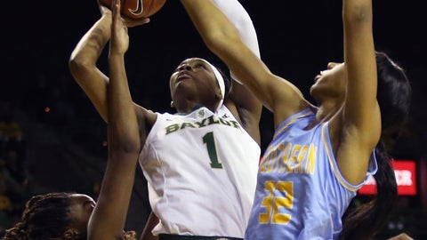 <p>               Baylor forward NaLyssa Smith (1) grabs the rebound against Southern University guard Rishonti Cowart (11), left, and forward Ceundra McGhee (32) during the first half of an NCAA college basketball game Thursday, Nov. 15, 2018, in Waco, Texas. (AP Photo/Jerry Larson)             </p>