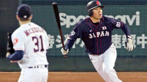 <p>               All Japan's Shogo Akiyama, right, hits an inside-the-park home run off MLB All-Star pitcher Collin McHugh (31) of the Houston Astros in the eighth inning of Game 4 at their All-Stars Series baseball at Mazda Zoom-Zoom Stadium in Hiroshima, western Japan, Tuesday, Nov. 13, 2018. (Kyodo News via AP)             </p>