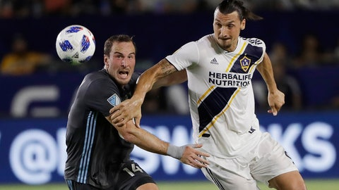 <p>               FILE - In this Aug. 11, 2018, file photo, LA Galaxy's Zlatan Ibrahimovic, right, is defended by Minnesota United's Brent Kallman during the first half of an MLS soccer match  in Carson, Calif. Ibrahimovic's first season with the Galaxy was seen by most as a success. The charismatic forward is under contract with the club for next season, but a few things have to happen if he is to return. (AP Photo/Marcio Jose Sanchez, File)             </p>
