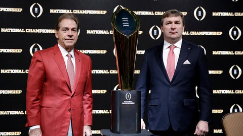 <p>               FILE - In this Jan. 7, 2018, file photo, Alabama head coach Nick Saban, left, and Georgia head coach Kirby Smart pose with the NCAA college football championship trophy at a press conference in Atlanta. Neither No. 1 Alabama nor No. 4 Georgia is anxiously awaiting their playoff fates this season, but whoever wins the SEC championship game showdown is definitely in the playoffs. The Crimson Tide could even get in with a close loss. (AP Photo/David Goldman, File)             </p>