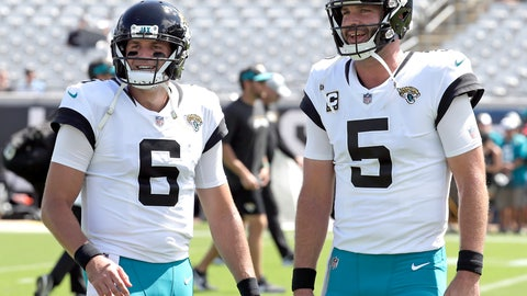 <p>               FILE - In this Sept. 23, 2018, file photo, Jacksonville Jaguars quarterbacks Cody Kessler (6) and Blake Bortles (5) talk during warm ups before an NFL football game against the Tennessee Titans in Jacksonville, Fla. Bortles will start a regular-season game on the bench for the first time since Sept. 14, 2014, serving as Kessler's backup against Indianapolis on Sunday.   (AP Photo/John Raoux, File)             </p>