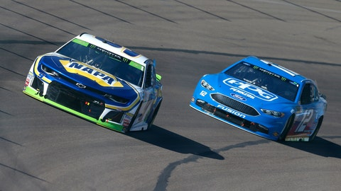 <p>               Chase Elliott (9) races with Ryan Blaney on the tenth lap during a NASCAR Cup Series auto race on Sunday, Nov. 11, 2018, in Avondale, Ariz. (AP Photo/Rick Scuteri)             </p>