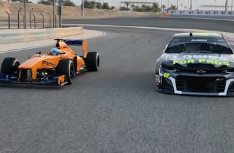Jimmie Johnson & Fernando Alonso talk about their ride swap at the Bahrain International Circuit