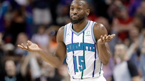 <p>               Charlotte Hornets' Kemba Walker reacts after making a basket against the Philadelphia 76ers during the second half of an NBA basketball game in Charlotte, N.C., Saturday, Nov. 17, 2018. (AP Photo/Chuck Burton)             </p>