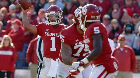 <p>               Oklahoma quarterback Kyler Murray (1) passes against Oklahoma State in the first quarter of an NCAA college football game in Norman, Okla., Saturday, Nov. 10, 2018. (AP Photo/Alonzo Adams)             </p>