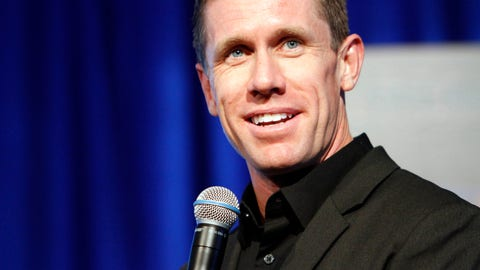 <p>               Retired NASCAR driver Carl Edwards speaks at his induction into the speedway's hall of fame at Texas Motor Speedway, Saturday, Nov. 3, 2018, in Fort Worth, Texas.  (AP Photo/David Kent)             </p>