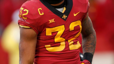 <p>               Iowa State running back David Montgomery walks off the field after a play during the first half of an NCAA college football game, Saturday, Nov. 10, 2018, in Ames, Iowa. Montgomery was ejected for fighting in the second half. (AP Photo/Matthew Putney)             </p>