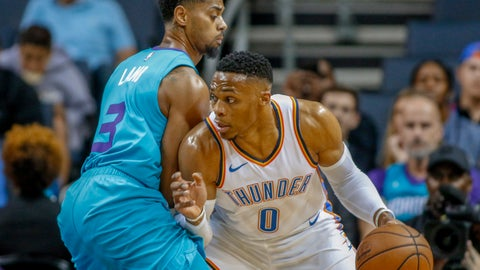 <p>               Oklahoma City Thunder guard Russell Westbrook, right, drives against Charlotte Hornets guard Jeremy Lamb during the first half of an NBA basketball game in Charlotte, N.C., Thursday, Nov. 1, 2018. (AP Photo/Nell Redmond)             </p>