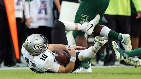 <p>               Central Florida  quarterback McKenzie Milton goes down with an apparent knee injury after being tackled during the first half of an NCAA college football game against South Florida Friday, Nov. 23, 2018, in Tampa, Fla. (AP Photo/Mike Carlson)             </p>