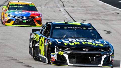 <p>               Jimmie Johnson (48) leads Kyle Busch (18) into Turn 1 during a NASCAR Cup auto race at Texas Motor Speedway, Sunday, Nov. 4, 2018, in Fort Worth, Texas. (AP Photo/Larry Papke)             </p>